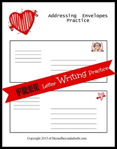 FREE Letter Writing Template Packet!  Learn how to address an envelope and write a friendly letter.   #education #printables
