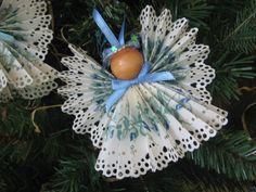 Blue Floral Angel Christmas Ornament Paper by SnowNoseCrafts, $4.00