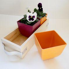 wooden flower box caddy