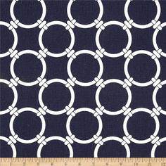 Premier Prints Linked Navy Blue from @fabricdotcom  Screen printed on cotton duck; this versatile medium weight fabric is perfect for window accents (draperies, valances, curtains and swags), accent pillows, duvet covers and upholstery. Create handbags, tote bags, aprons and more. *Use cold water and mild detergent (Woolite). Drying is NOT recommended - Air Dry Only - Do not Dry Clean. Colors include white and navy blue.