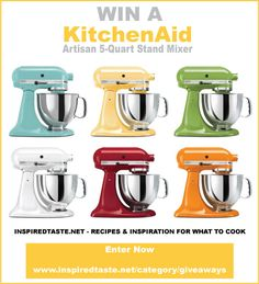 KitchenAid Artisan 5-Quart Mixer Giveaway from inspiredtaste.net #giveaway #sweepstakes