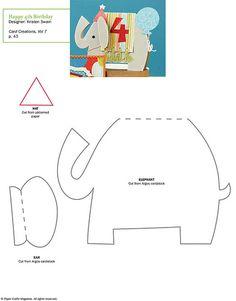 Free Birthday elephant Card pattern