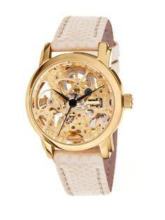 Women's Round Gold Skeleton Watch