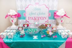 Amazing dessert table at a Sweet 16 party!   See more party ideas at CatchMyParty.com!  #partyideas #sweet16
