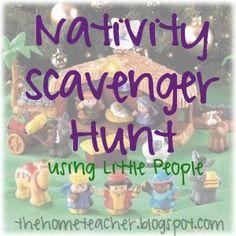 The Home Teacher: Little People Nativity Scavenger Hunt