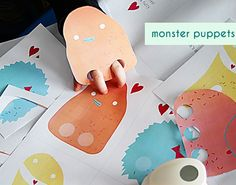 Monster Puppets printable Valentines