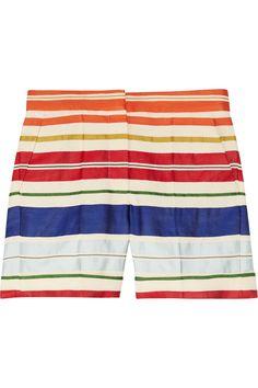 Stella McCartney|Deckchair-striped cotton and silk-blend shorts|NET-A-PORTER.COM