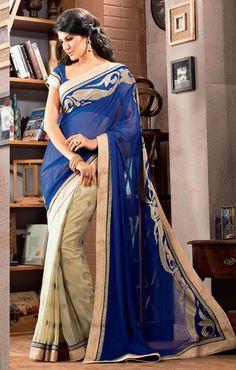 Captivating Cream and Navy Blue Sari