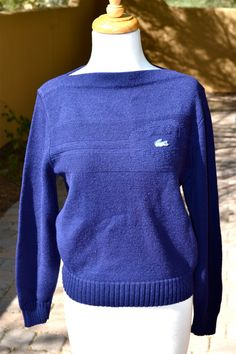 vtg LACOSTE SPORT navy Blue Sweater m by faintofheartvintage, $28.00