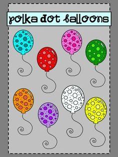 Polka Dot Balloons {clip art} - free