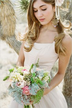 pink green wedding bouquet.  I love the variety of flowers
