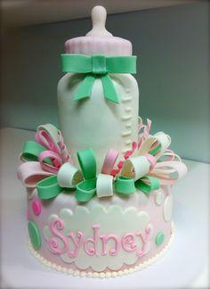 baby bottle baby shower cake