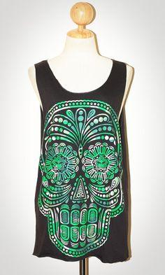 Mexican Art Skull Halloween Chalcoal Black Singlet Tank Top