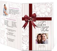 Letter Single Fold : One Wedding Program Templates. Edits easily and quickly in Word, OpenOffice, Publisher, and Apple iWork Pages.