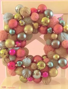 Inspired Ideas, The Christmas Issue yarn ball, christma wreath, ball wreath, christmas time, craft, balls, christma issu, ornament wreath, yarn wreaths