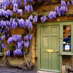 Green door in Cotswolds, England