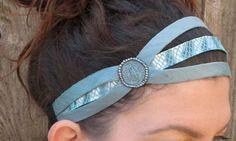 Light Blue headband beaded headband for women by jahannamartinez