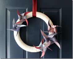 Patriotic wreath inspiration, fourth of july, juli wreath, canada day, craft idea, 4th of july, papers, pinwheel, crafts
