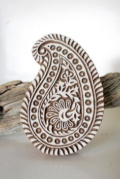 paisley block print stamp from India. This is a link to a wonderful Etsy shop for hand carved stamps