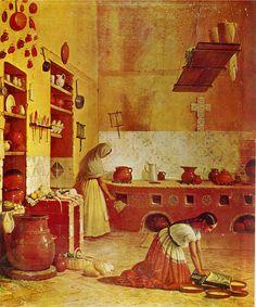 Cocina Poblana   Del Libro: Antonio Arriaga Ochoa  Escenas Mexicanas del Siglo XIX