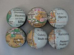 Glass Map Magnets: Milwaukee, Cudahy, Kenosha, Racine, Brookfield, Greenfield, Wauwatosa, Greendale, Franklin, Wisconsin (WI) (set of 6) by TheCraftingLibrarian, $7.50