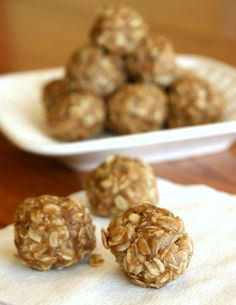 Peanut Butter Oatmeal Bites.  No butter, high in healthy fats and fiber to keep you fueled!  Done in five minutes, too!