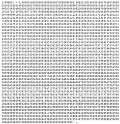 If you divide 1 by 998,001 (result shown in picture) you get all three-digit numbers from 000 to 999 in order, except for 998... If you divide 1 by 9,801 you get all two-digit numbers from 00 to 99 in order, except for 98... If you divide 1 by 81 you get all one-digit numbers from 0 to 9 in order, except for 8.