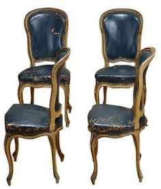 Vintage French Set of Eight Navy Leather Dining Chairs