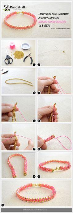 Fabulously Easy handmade Jewelry for Girls - Making String Bracelet in 3 Steps from pandahall.com