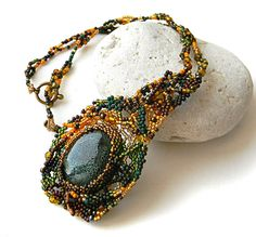 Freeform beaded pendant with ceramic bead   boho by Anabel27shop,