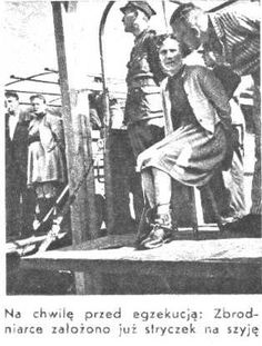 Female Guards in Nazi Concentration Camps. Right : Elisabeth Becker (the executioner just passed the noose around her neck),  left (standing) : Wanda Klaff