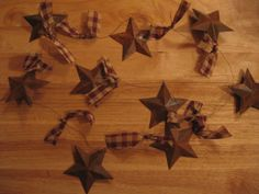 Very Cool Home Decor - Primitive Style Rusty Tin Star Garland