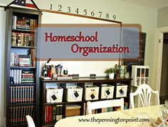 How I organize my homeschool junk {Homeschool mom to 9 children blends homeschool stuff with pretty home decor} LOVE her style!