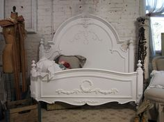 Painted Cottage Chic Shabby White Queen Romance Bed BD205 on Etsy, $1,295.00