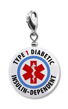 Diabetes Type 1 Insulin Dependent Diabetic Medical Warning Charm Pendant. $7.00, via Etsy.