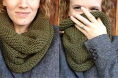 super simple knitted cowl-knit