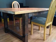 Two toned 4 post farm table from Northwood Farm Tables, Northwood, NH