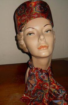Collector's Vintage Raymond Hudd Chicago Silk Paisley Pillbox Hat Scarf Set #Pillboxandscarf