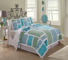 Belfast Bedding  (Blue and Green Bedding)  This bedding set features lovely large bright  blue and green with a stark white frame work.  This versatile look can be used in summer  cottages, teen rooms or even brighter master  bedrooms!