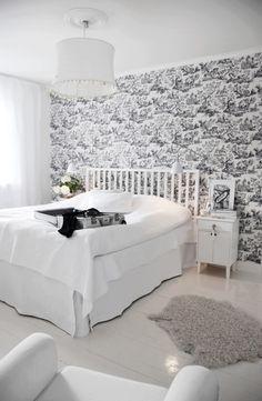 Simple white w/ toile bedroom.