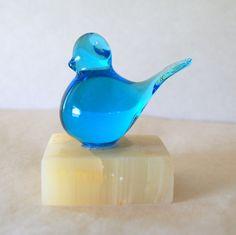 Vintage BLOWN GLASS BIRD Azure Blue