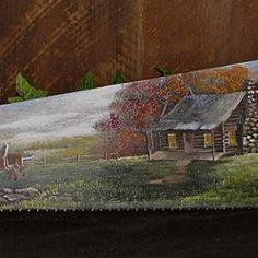 tole paint, paint sawblad, hand paint, paint barn, craft stuff, log cabins, paint blade, cabin handsaw, paint hand