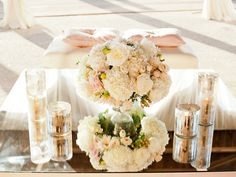 low small centerpieces with votives