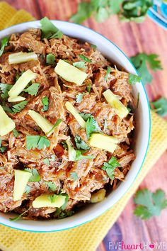 Slow Cooker Pineapple Pulled Pork with Pineapple BBQ Sauce ~ use on tacos, quesadillas, pizza, nachos, and more!   FiveHeartHome.com
