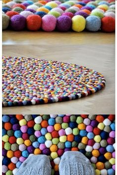 Pom-pom Rug :)  If I remember correctly, you sew it together with invisible thread or something like fishing line and a sharp needle and then sew the rounds to each other as you make the spiral.