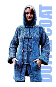 Vintage Knitting 70s English DUFFLE COAT  PDF by KinsieWoolShop, $3.20 vintage knitting, crochet stuff, duffl coat, crochet apparel, coat pdf, crochet outerwear, kinsiewoolshop, coats, abrigos de crochet