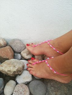 Pink  beads  macrame Foot jewelry Anklet Nude by ArtofAccessory, $15.00