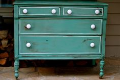 HAnd Painted Teal/Turquoise Shabby Chic Chest of drawers. $395.00, via Etsy.