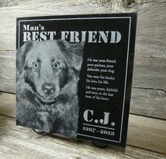 Custom Pet Photo Engraved Granite Memorial Stone, Grave Marker, Headstone, or Keepsake Portrait. Personalize with text and picture. 12 x 12