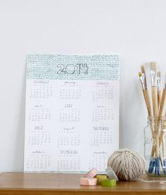 2014 Wall Calendar by HelloHueStudio